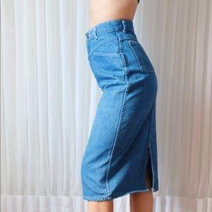 Vintage Skirts - 90's Ultra High Waisted Denim Midi Skirt (Size XS)